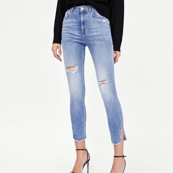 Zara High Waist Distressed Side Slit Skinny Jeans